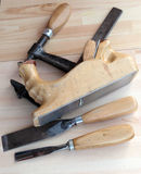 Carpenter Tools Planes, G-clamp and Chisels Royalty Free Stock Photography