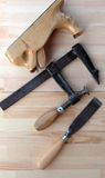 Carpenter Tools Planes, G-clamp and Chisels Stock Photography