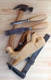 Carpenter Tools Planes, G-clamp and Chisels royalty free stock photo