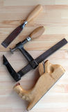 Carpenter Tools Planes, G-clamp and Chisels stock photo