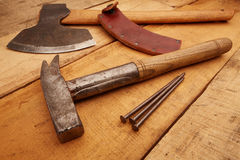 Carpenter tools on Rustic planks floor Royalty Free Stock Images