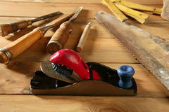 Carpenter tools saw hammer wood tape plane gouge Stock Photography