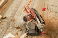 Circular Saw. Carpenter tools sawdust. Circular Saw stock photo