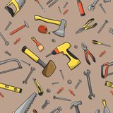 Carpenter tools seamless pattern Royalty Free Stock Photos