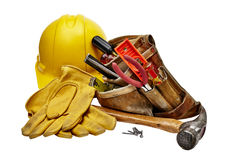 Carpenter tools with toolbag and hardhat Stock Images