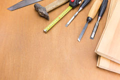 Carpenter tools on wood table Stock Photo