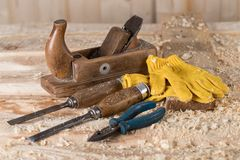 Carpenter tools. on wooden background stand tools royalty free stock image