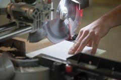 Carpenter Using Circular Saw. Circular Saw. Carpenter Using Circular Saw for metal Stock Images