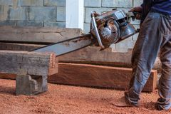 Carpenter is using gasoline engine portable chainsaw cut timber. Carpenter gasoline engine portable chainsaw timber royalty free stock image