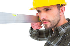 Carpenter using spirit level Royalty Free Stock Photo