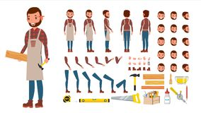 Carpenter Vector. Animated Professional Character Creation Set. Workshop, Wood Work Tool. Full Length, Front, Side, Back View. Cartoon Illustration stock illustration