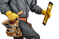 Carpenter wearing Tool Belt Stock Image