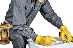 Carpenter wearing Tool Belt Royalty Free Stock Image