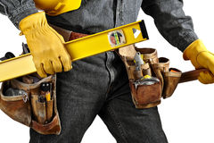 Carpenter wearing Tool Belt Stock Photography