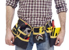 Carpenter wearing tool belt Royalty Free Stock Images