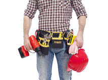 Carpenter wearing tool bet Royalty Free Stock Images