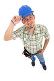 Carpenter Wearing Toolbelt Hardhat Stock Photography