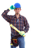Carpenter Wearing Toolbelt Hardhat Royalty Free Stock Images