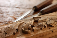 Carpenter wood chisel tool with carving Stock Image
