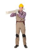 Carpenter with wooden planks Stock Photography