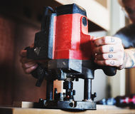 Carpenter woodworker working for house renovation Royalty Free Stock Photos