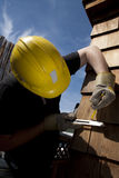 Carpenter at work. With tools Stock Photo