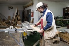 Carpenter at work. Royalty Free Stock Images