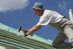 Carpenter by work. On the brim royalty free stock image