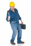 Carpenter at work. Carpenter tired of long working hours, white background, reflective surface, studio shot Royalty Free Stock Photo