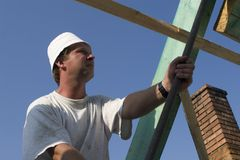 Carpenter by work. On the brim stock image