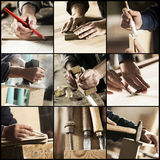Carpenter at work. Collage of Carpenter at work, hands close up Stock Images