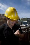 Carpenter at work smoking Stock Photography