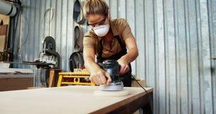 Carpenter at work in the studio stock video