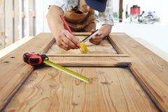 Carpenter Work The Wood, Measuring A Wooden Vintage Door Stock Photos