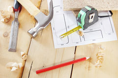 Carpenter work tools on the workbench Royalty Free Stock Images