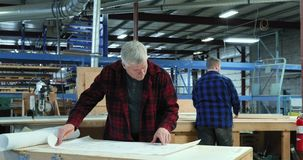 Carpenter at work in woodshop