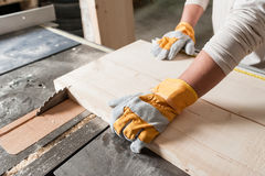 Carpenter at work. Carpenter working with Industrial tool in wood factory wearing safety gloves Royalty Free Stock Image