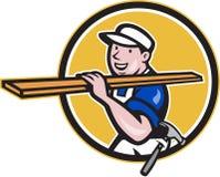 Carpenter Worker Carrying Timber Circle Cartoon Royalty Free Stock Images