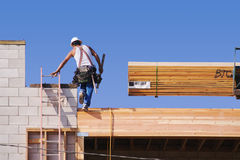 Carpenter Working Diligently Stock Photo