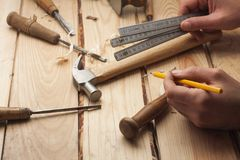 Carpenter working royalty free stock photography
