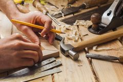Carpenter working Stock Image