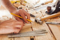 Carpenter working Stock Photo