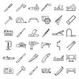 Carpenter working icon set, outline style. Carpenter working icon set. Outline set of carpenter working vector icons for web design isolated on white background stock illustration