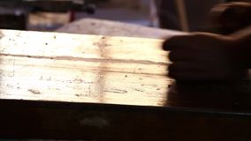 Carpenter is Working on Piece of Wood stock video