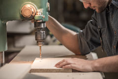 Carpenter working with precision Royalty Free Stock Images