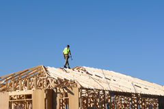 Carpenter Working On The Roof Royalty Free Stock Photography