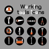 Carpenter Working Tools Icons Set Stock Photo