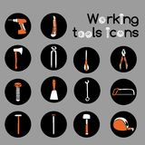 Carpenter Working Tools Icons Set Royalty Free Stock Images
