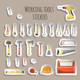 Carpenter working tools icons stickers Royalty Free Stock Image
