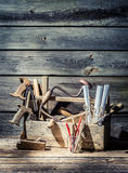 Carpenter working tools in a toolbox Royalty Free Stock Photos